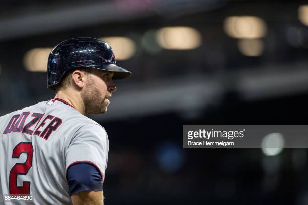 Brian Dozier of the Minnesota Twins looks on against the Cleveland Indians on September 26 2017 at Progressive Field in Cleveland Ohio The Twins...