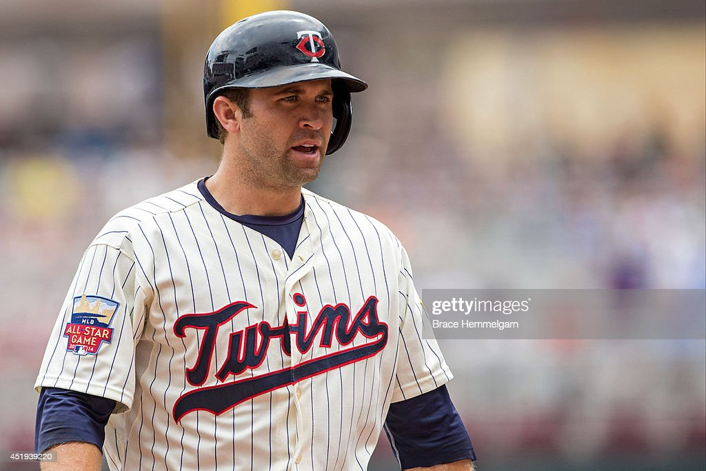 Brian Dozier #2 of the Minnesota Twins looks on against the New York Yankees on July 5, 2014 at Target Field in Minneapolis, Minnesota. The Twins defeated the Yankees 2-1.