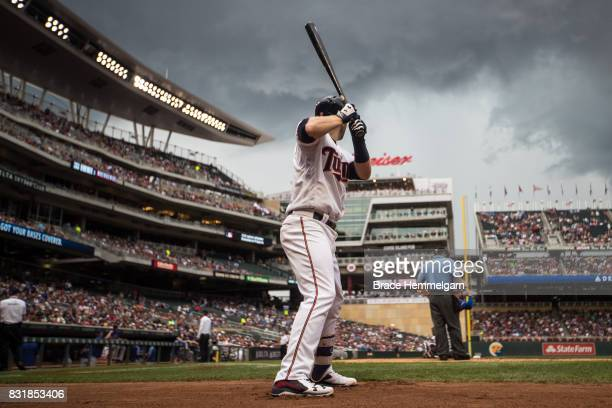 Brian Dozier of the Minnesota Twins looks on against the Texas Rangers on August 6 2017 at Target Field in Minneapolis Minnesota The Twins defeated...