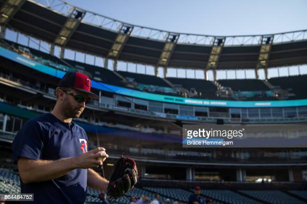 Brian Dozier of the Minnesota Twins looks on prior to the game against the Cleveland Indians on September 26 2017 at Progressive Field in Cleveland...
