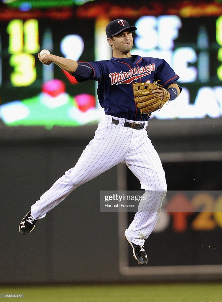 <a gi-track='captionPersonalityLinkClicked' href=/galleries/search?phrase=Brian+Dozier&family=editorial&specificpeople=7553002 ng-click='$event.stopPropagation()'>Brian Dozier</a> #2 of the Minnesota Twins makes a play at second base to get out Jason Kipnis #22 of the Cleveland Indians at first base during the sixth inning of the game on August 19, 2014 at Target Field in Minneapolis, Minnesota. The Indians defeated the Twins 7-5.