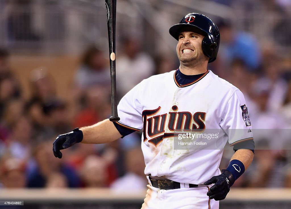 Brian Dozier #2 of the Minnesota Twins reacts to striking out against the Kansas City Royals during the seventh inning of the game on June 8, 2015 at Target Field in Minneapolis, Minnesota. The Royals defeated the Twins 3-1.