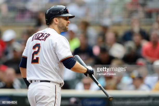 Brian Dozier of the Minnesota Twins reacts to striking out against the Texas Rangers during the game on August 6 2017 at Target Field in Minneapolis...