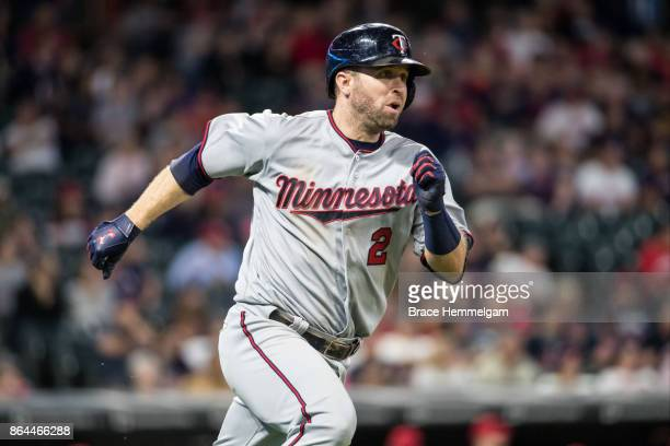Brian Dozier of the Minnesota Twins runs against the Cleveland Indians on September 27 2017 at Progressive Field in Cleveland Ohio The Indians...