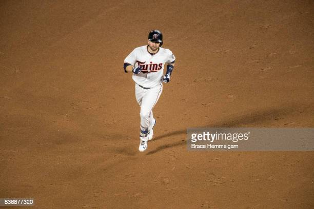 Brian Dozier of the Minnesota Twins runs against the Milwaukee Brewers on August 8 2017 at Target Field in Minneapolis Minnesota The Twins defeated...