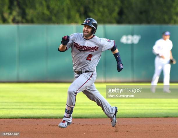 Brian Dozier of the Minnesota Twins runs the bases during the game against the Detroit Tigers at Comerica Park on September 23 2017 in Detroit...