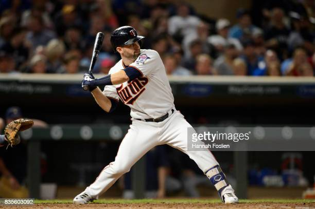 Brian Dozier of the Minnesota Twins takes an at bat against the Milwaukee Brewers during the game on August 7 2017 at Target Field in Minneapolis...