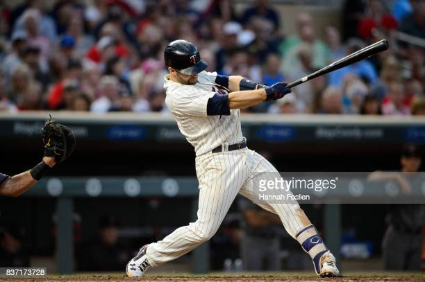 Brian Dozier of the Minnesota Twins takes an at bat against the Arizona Diamondbacks during the game on August 19 2017 at Target Field in Minneapolis...