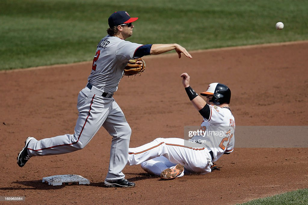 <a gi-track='captionPersonalityLinkClicked' href=/galleries/search?phrase=Brian+Dozier&family=editorial&specificpeople=7553002 ng-click='$event.stopPropagation()'>Brian Dozier</a> #2 of the Minnesota Twins throws to first base to complete an inning ending double play after forcing out Steve Pearce #28 of the Baltimore Orioles in the third inning at Oriole Park at Camden Yards on April 7, 2013 in Baltimore, Maryland.