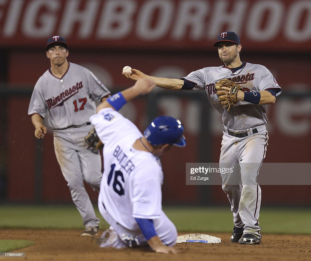 <a gi-track='captionPersonalityLinkClicked' href=/galleries/search?phrase=Brian+Dozier&family=editorial&specificpeople=7553002 ng-click='$event.stopPropagation()'>Brian Dozier</a> #2 of the Minnesota Twins throws to first over <a gi-track='captionPersonalityLinkClicked' href=/galleries/search?phrase=Billy+Butler&family=editorial&specificpeople=759092 ng-click='$event.stopPropagation()'>Billy Butler</a> #16 of the Kansas City Royals to complete a double play in the sixth inning at Kauffman Stadium August, 5, 2013 in Kansas City, Missouri.
