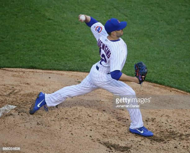 Brian Duensing of the Chicago Cubs pitches against the Milwaukee Brewers at Wrigley Field on May 19 2017 in Chicago Illinois The Brewers defeated the...