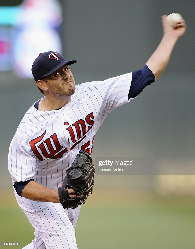 Brian Duensing #52 of the Minnesota Twins delivers a pitch against the Kansas City Royals during the second inning on June 29, 2012 at Target Field in Minneapolis, Minnesota.