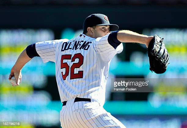 Brian Duensing of the Minnesota Twins delivers a pitch against the New York Yankees during the first inning of the game on September 26 2012 at...