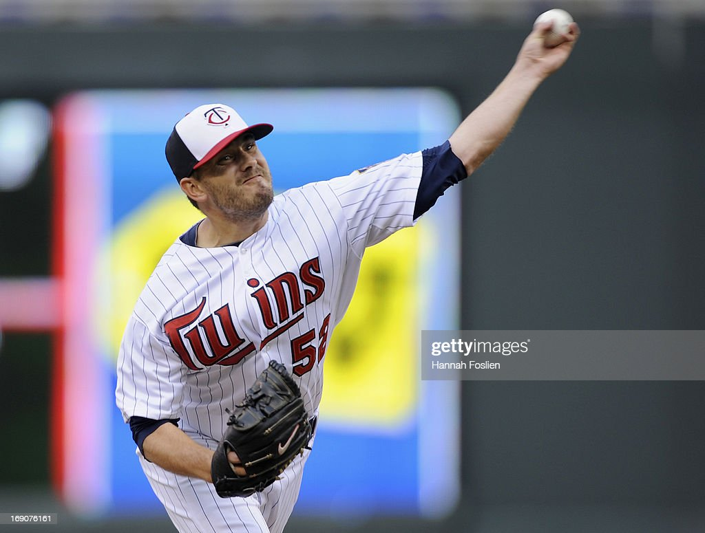 <a gi-track='captionPersonalityLinkClicked' href=/galleries/search?phrase=Brian+Duensing&family=editorial&specificpeople=4921835 ng-click='$event.stopPropagation()'>Brian Duensing</a> #52 of the Minnesota Twins delivers a pitch against the Boston Red Sox during the eighth inning of the game on May 19, 2013 at Target Field in Minneapolis, Minnesota.