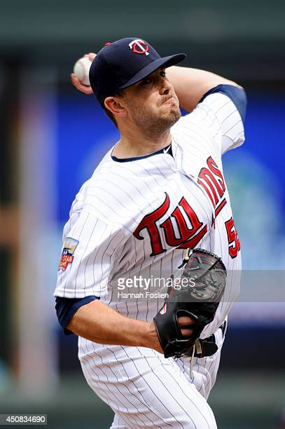 Brian Duensing of the Minnesota Twins delivers a pitch against the Houston Astros during the game on June 8 2014 at Target Field in Minneapolis...