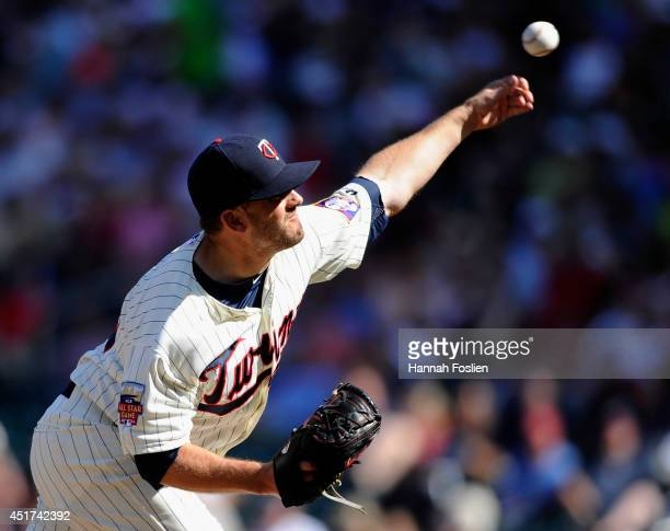 Brian Duensing of the Minnesota Twins delivers a pitch against the New York Yankees during the eleventh inning of the game on July 5 2014 at Target...