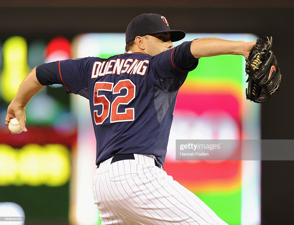 <a gi-track='captionPersonalityLinkClicked' href=/galleries/search?phrase=Brian+Duensing&family=editorial&specificpeople=4921835 ng-click='$event.stopPropagation()'>Brian Duensing</a> #52 of the Minnesota Twins delivers a pitch against the Cleveland Indians during the sixth inning of the game on August 19, 2014 at Target Field in Minneapolis, Minnesota. The Indians defeated the Twins 7-5.