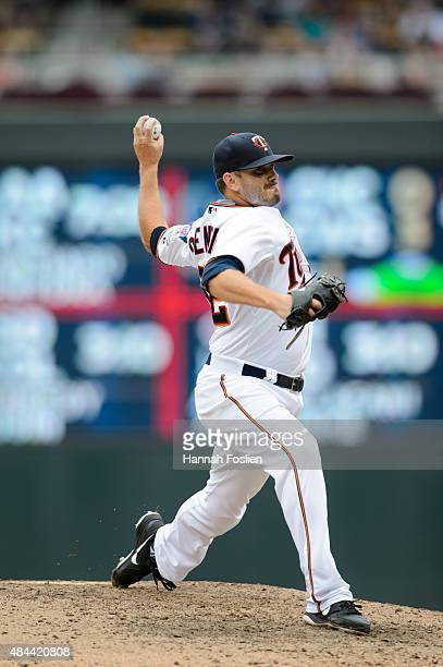 Brian Duensing of the Minnesota Twins delivers a pitch against the Cleveland Indians during the game on August 16 2015 at Target Field in Minneapolis...