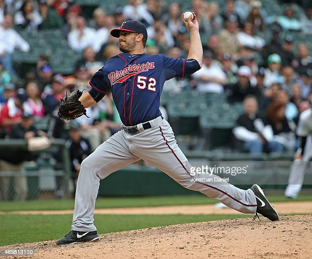 Brian Duensing of the Minnesota Twins pitches against the Chicago White Sox at US Cellular Field on April 12 2015 in Chicago Illinois The White Sox...