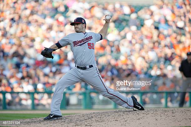 Brian Duensing of the Minnesota Twins pitches against the Detroit Tigers at Comerica Park on June 14 2014 in Detroit Michigan