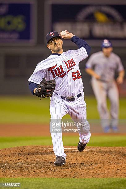 Brian Duensing of the Minnesota Twins pitches against the Kansas City Royals on April 11 2014 at Target Field in Minneapolis Minnesota The Twins...