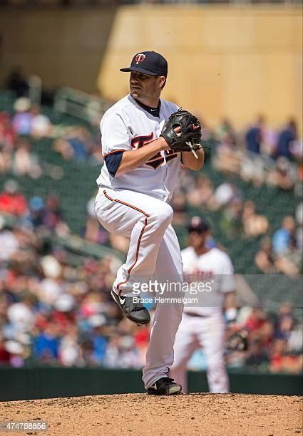 Brian Duensing of the Minnesota Twins pitches against the Tampa Bay Rays on May 17 2015 at Target Field in Minneapolis Minnesota The Rays defeated...