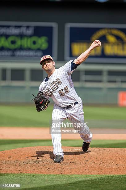 Brian Duensing of the Minnesota Twins pitches against the Texas Rangers on May 26 2014 at Target Field in Minneapolis Minnesota The Rangers defeated...