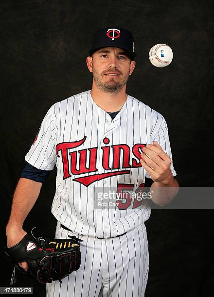 Brian Duensing of the Minnesota Twins poses for a portrait at Hammond Stadium during photo day on February 25 2014 in Fort Myers Florida