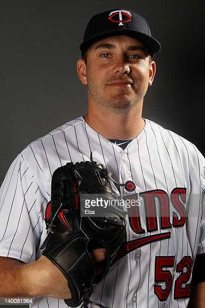 Brian Duensing of the Minnesota Twins poses for a portrait on February 27 2012 at Hammond Stadium in Fort Myers Florida