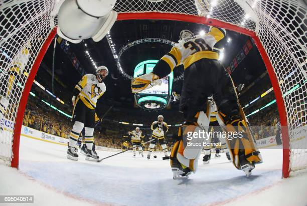 Brian Dumoulin and Matt Murray of the Pittsburgh Penguins celebrate their Stanley Cup winning victory over the Nashville Predators in Game Six of the...