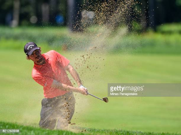 Brian Dwyer hits a bunker shot on the fifteenth hole during the final round of the Mackenzie Investments Open at Club de Golf Les Quatre Domaines on...
