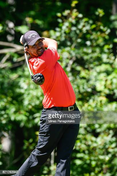 Brian Dwyer hits his tee shot on the fifteenth hole during the final round of the Mackenzie Investments Open at Club de Golf Les Quatre Domaines on...