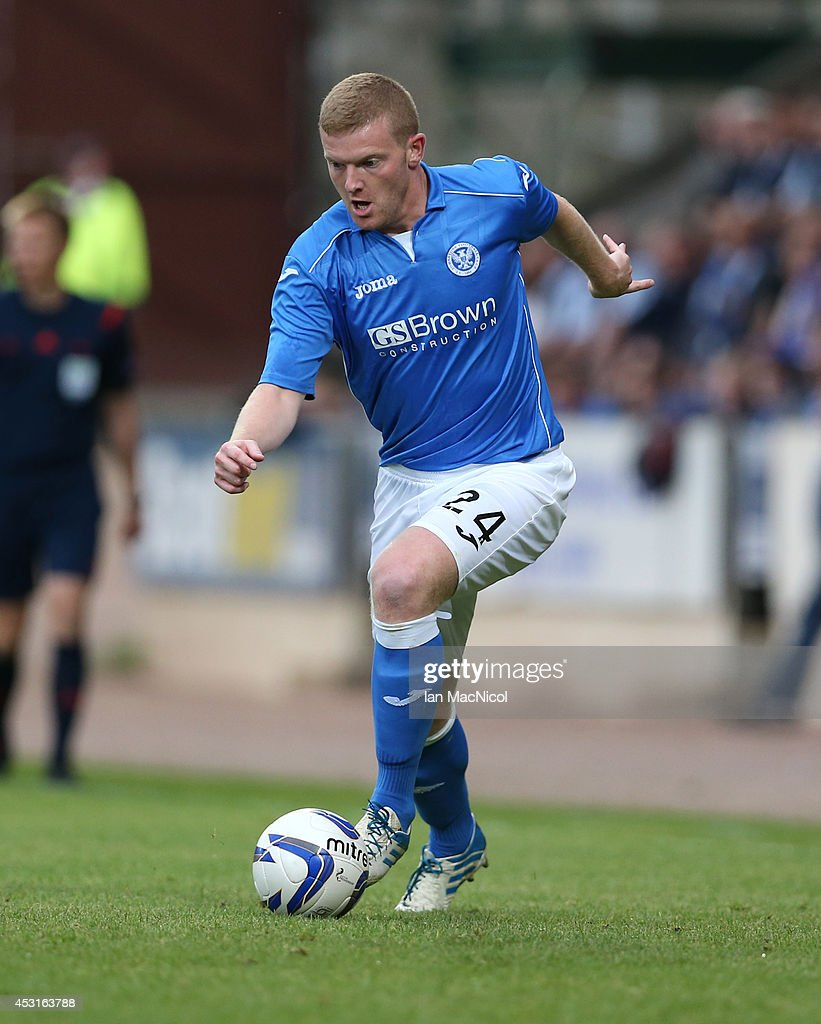 Brian Easton of St Johnstone controls the ball during the UEFA Europa League Third Qualifying Round, First Leg match between St Johnstone and Spartak Trnava, at McDiarmid Park on July 31, 2014 Perth, Scotland.