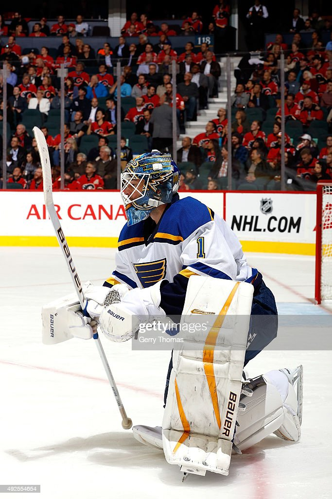Brian Elliot #1 of the St. Louis Blues skates against the Calgary Flames during an NHL game at Scotiabank Saddledome on October 13, 2015 in Calgary, Alberta, Canada.