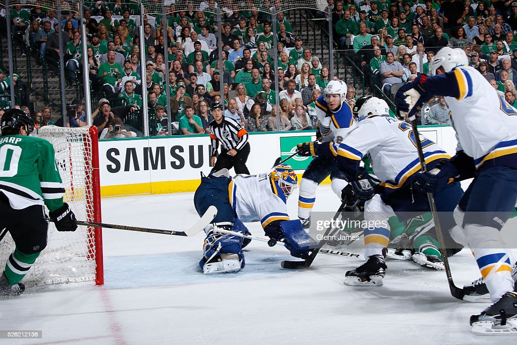 <a gi-track='captionPersonalityLinkClicked' href=/galleries/search?phrase=Brian+Elliott&family=editorial&specificpeople=687032 ng-click='$event.stopPropagation()'>Brian Elliott</a> blocks the puck against the Dallas Stars in Game One of the Western Conference Second Round during the 2016 NHL Stanley Cup Playoffs at the American Airlines Center on April 29, 2016 in Dallas, Texas.