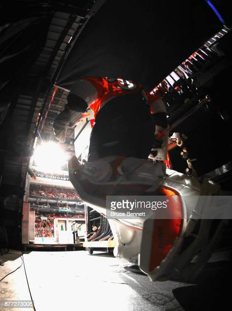 Brian Elliott of the Philadelphia Flyers heads out for the third period against the Vancouver Canucks at the Wells Fargo Center on November 21 2017...