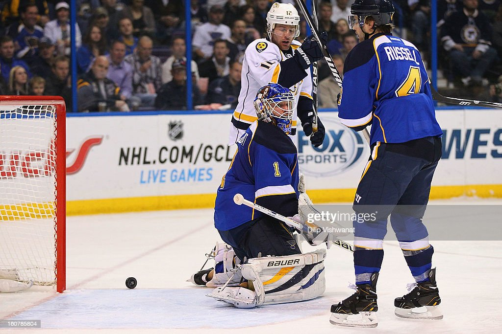 <a gi-track='captionPersonalityLinkClicked' href=/galleries/search?phrase=Brian+Elliott&family=editorial&specificpeople=687032 ng-click='$event.stopPropagation()'>Brian Elliott</a> #1 of the St. Louis Blues allows a goal against the Nashville Predators at the Scottrade Center on February 5, 2013 in St. Louis, Missouri.