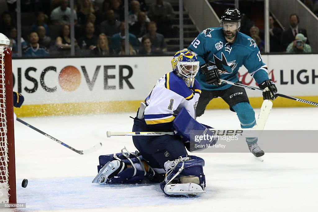 Brian Elliott of the St Louis Blues allows a goal on a shot by Joonas Donskoi of the San Jose Sharks in game three of the Western Conference Finals...