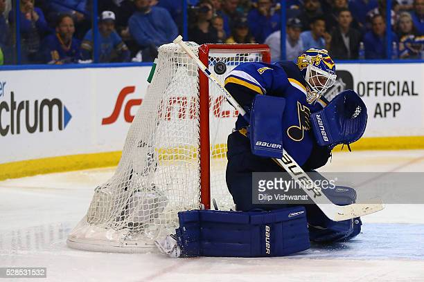 Brian Elliott of the St Louis Blues allows the gamewinning goal against the Dallas Stars in overtime in Game Four of the Western Conference Second...