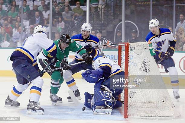 Brian Elliott of the St Louis Blues blocks a shot against Ales Hemsky of the Dallas Stars in the first period in Game Five of the Western Conference...