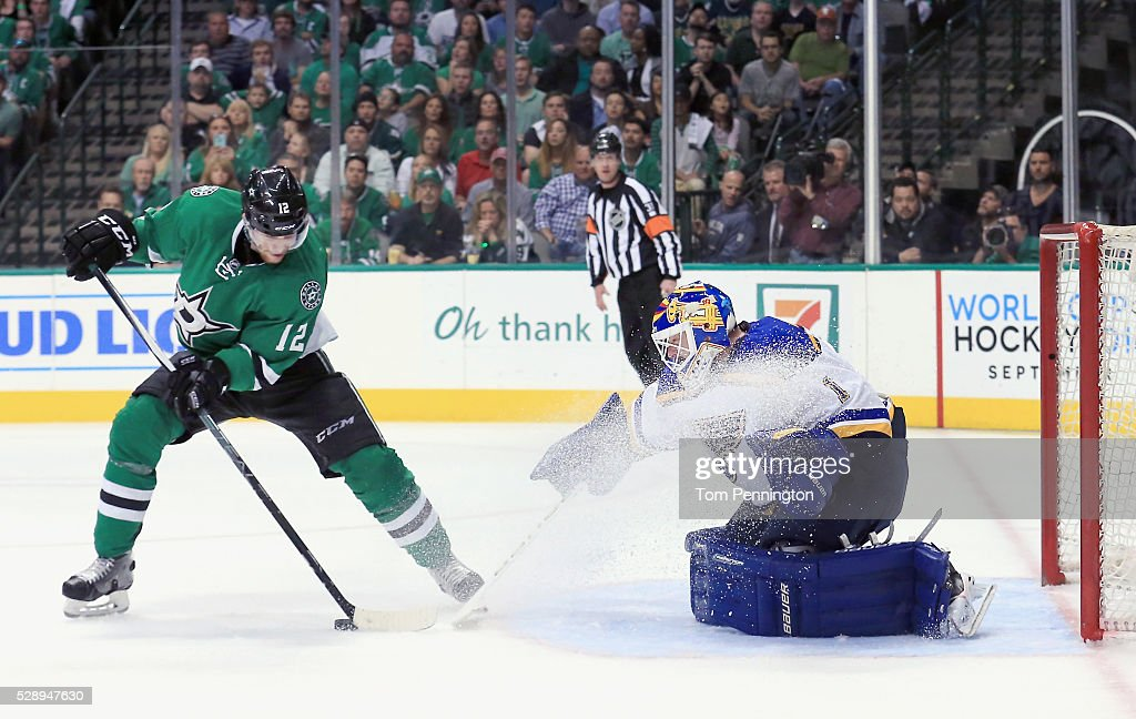 Brian Elliott #1 of the St. Louis Blues blocks a shot on goal against Radek Faksa #12 of the Dallas Stars in the third period in Game Five of the Western Conference Second Round during the 2016 NHL Stanley Cup Playoffs at American Airlines Center on May 7, 2016 in Dallas, Texas.