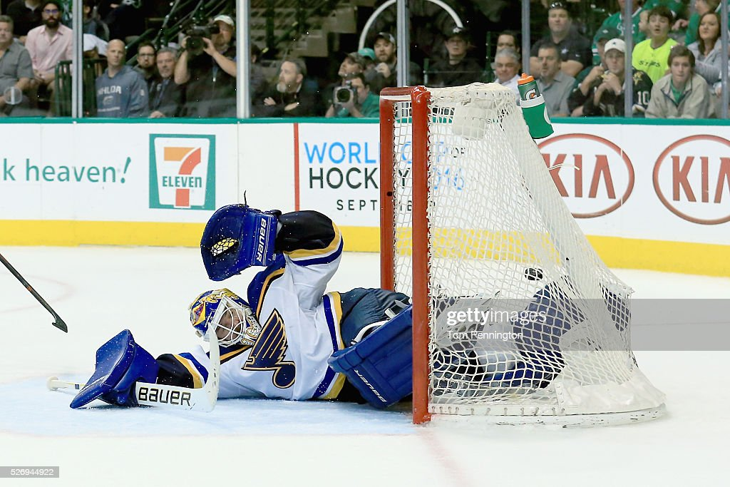 Brian Elliott #1 of the St. Louis Blues gives up a goal against the Dallas Stars in the third period in Game Two of the Western Conference Second Round during the 2016 NHL Stanley Cup Playoffs at American Airlines Center on May 1, 2016 in Dallas, Texas.