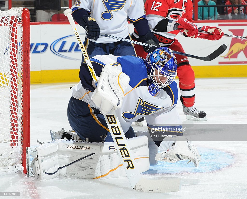 <a gi-track='captionPersonalityLinkClicked' href=/galleries/search?phrase=Brian+Elliott&family=editorial&specificpeople=687032 ng-click='$event.stopPropagation()'>Brian Elliott</a> #1 of the St. Louis Blues goes to cover a rebound during an NHL game against the Carolina Hurricanes on March 15, 2012 at PNC Arena in Raleigh, North Carolina.