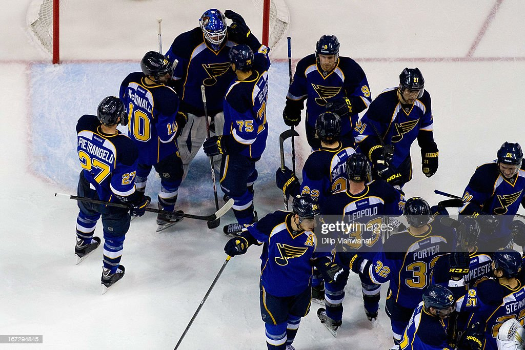 <a gi-track='captionPersonalityLinkClicked' href=/galleries/search?phrase=Brian+Elliott&family=editorial&specificpeople=687032 ng-click='$event.stopPropagation()'>Brian Elliott</a> #1 of the St. Louis Blues is congratulated by teammates after beating the Colorado Avalanche at the Scottrade Center on April 23, 2013 in St. Louis, Missouri. The Blues beat the Avalanche 3-1 to clinch a play-off birth.