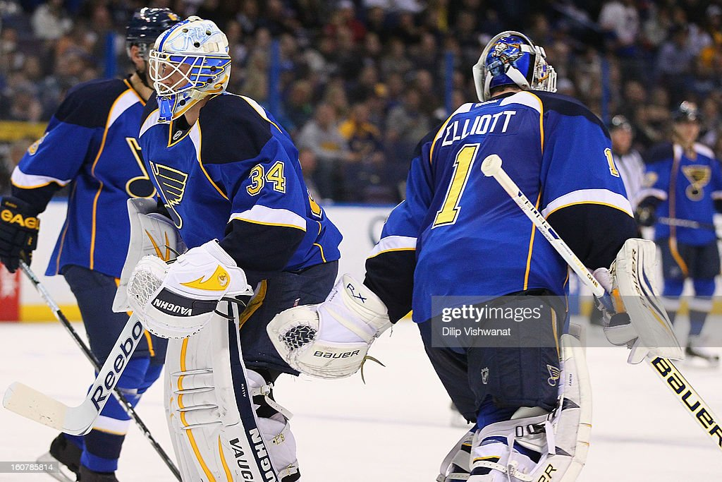 <a gi-track='captionPersonalityLinkClicked' href=/galleries/search?phrase=Brian+Elliott&family=editorial&specificpeople=687032 ng-click='$event.stopPropagation()'>Brian Elliott</a> #1 of the St. Louis Blues is replaced by rookie goaltender Jake Allen #34 also of the St. Louis Blues at the Scottrade Center on February 5, 2013 in St. Louis, Missouri.
