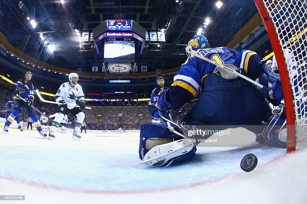 Brian Elliott #1 of the St. Louis Blues is scored on by Brent Burns #88 of the San Jose Sharks (not pictured) during the second period in Game Two of the Western Conference Final during the 2016 NHL Stanley Cup Playoffs at Scottrade Center on May 17, 2016 in St Louis, Missouri.