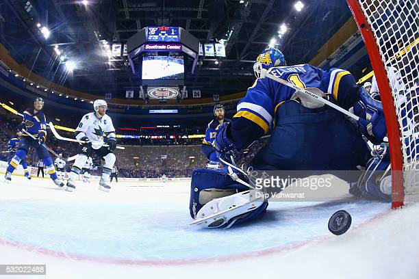 Brian Elliott of the St Louis Blues is scored on by Brent Burns of the San Jose Sharks during the second period in Game Two of the Western Conference...