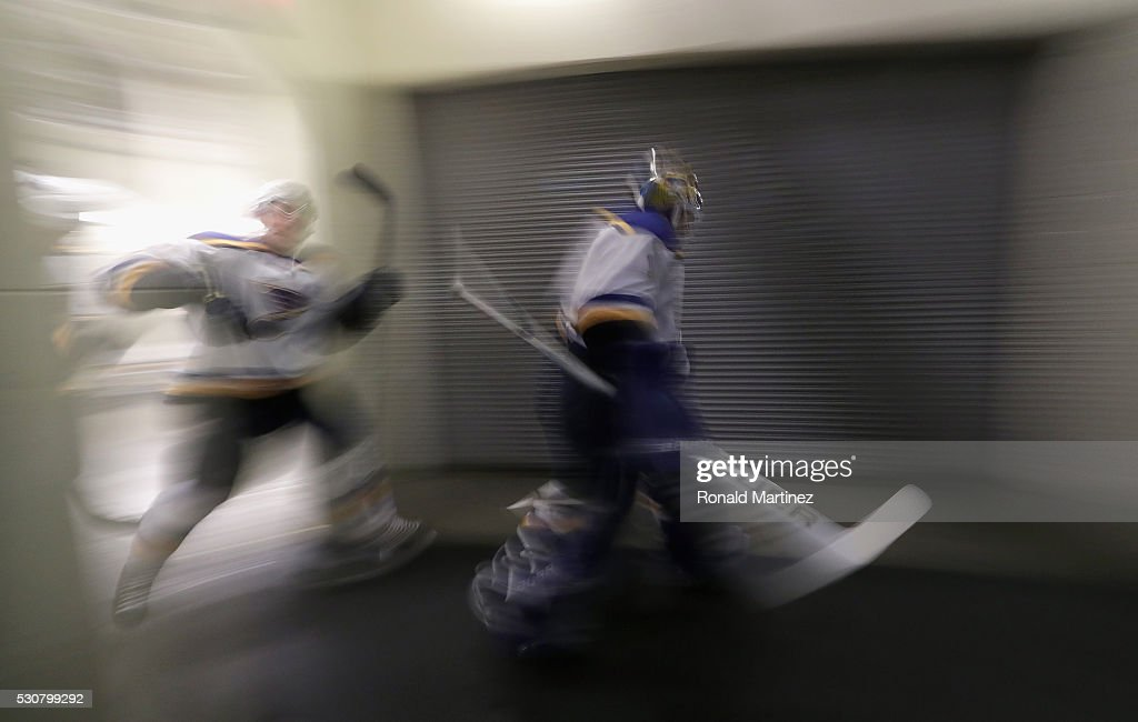 Brian Elliott of the St Louis Blues leads the team to the ice before play against the Dallas Stars in Game Seven of the Western Conference Second...