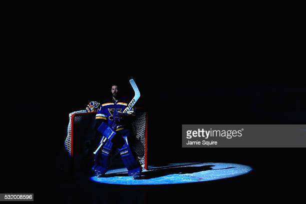 Brian Elliott of the St Louis Blues looks on prior to Game Two of the Western Conference Final against the San Jose Sharks during the 2016 NHL...