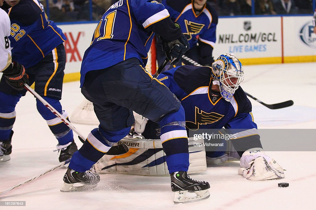 <a gi-track='captionPersonalityLinkClicked' href=/galleries/search?phrase=Brian+Elliott&family=editorial&specificpeople=687032 ng-click='$event.stopPropagation()'>Brian Elliott</a> #1 of the St. Louis Blues makes a save against the Anaheim Ducks at the Scottrade Center on February 9, 2013 in St. Louis, Missouri.